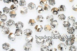 CBI438 Crystal Silver Bi-cone  x 50