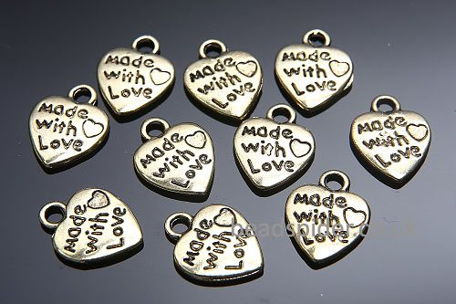 """""""Made With Love"""" Gold Heart Charm"""