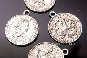 Silver Coin Charm