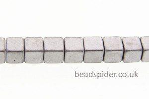 Hematite Matte Silver Coloured Cubes