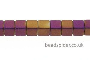 Hematite Matte Purple / Gold Coloured Cubes