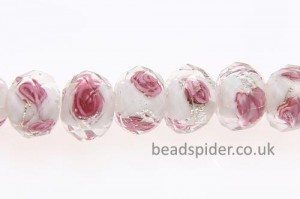 Clear with Hot Pink Roses with Silver Shimmer-dust Swirls on White