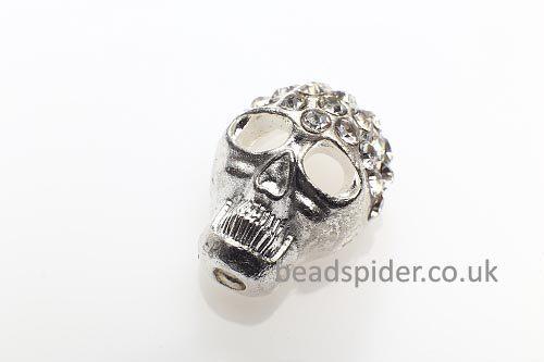 Crystal Silver Sparkle Skull