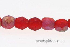Ruby Opaque AB Czech Glass