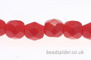 Opaque Salmon Red Czech Glass