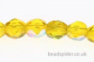 Lustre Acid Yellow AB Czech Glass