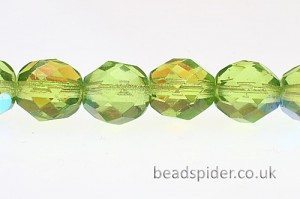 Olivine Green AB Czech Glass