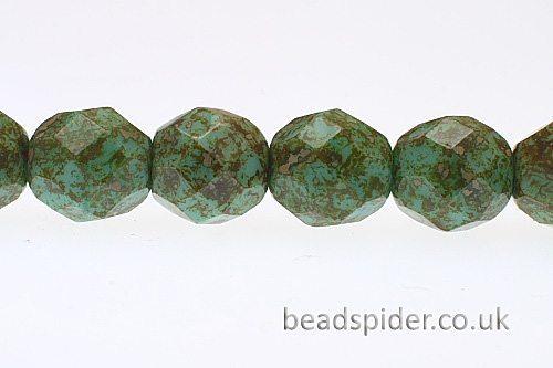 Opaque Green Piccaso Czech Glass