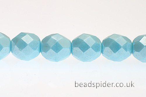 Opaque Blue Lustre Czech Glass