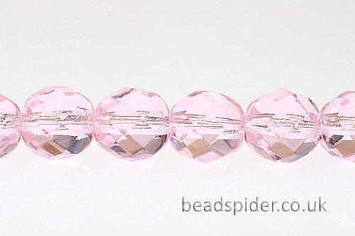 Transparent Pink Czech Glass