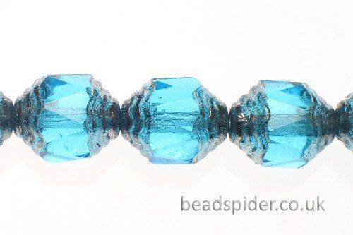 Cobalt Blue Silver  Czech Glass
