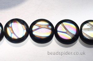 Black with Multi Colour Cross Pattern Small Czech Glass