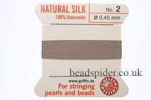 Grey 100% Silk Knotting Thread size 2