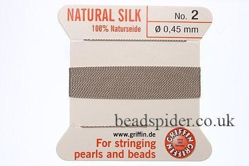 Grey 100% Silk Knotting Thread size 2