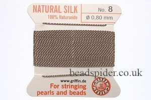 Grey 100% Silk Knotting Thread size 8
