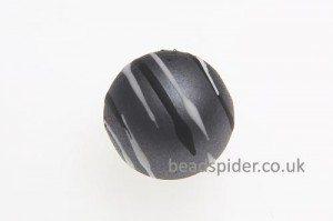 Grey With White and Black Stripe Solaris Bead
