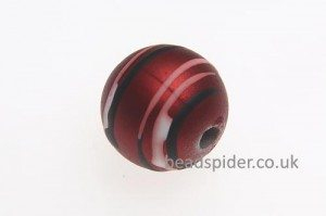 Red With White and Black Stripe Solaris Bead