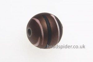 Brown With White and Black Stripe Solaris Bead