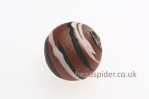 Caramel With White and Black Stripe Solaris Bead