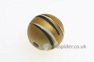 Saffron With White and Black Stripe Solaris Bead