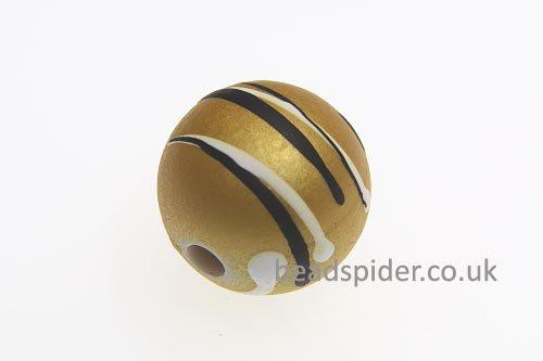 Saffron With White and Black Stripe Solaris Bead