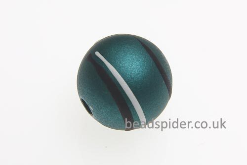 Teal With White and Black Stripe Solaris Bead