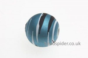 Sky Blue With White and Black Stripe Solaris Bead