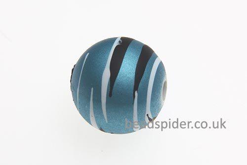 Sky Blue With White and Black Stripe Solaris Bead
