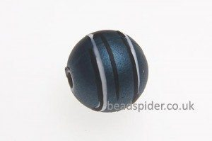 Steel Blue With White and Black Stripe Solaris Bead
