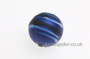 Capri Blue With White and Black Stripe Solaris Bead