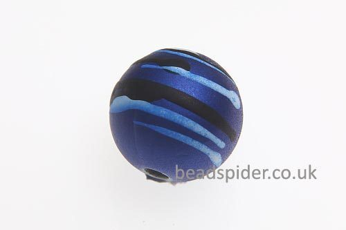 Capri Blue With White and Black Stripe Solaris Bead