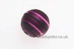 Plum With Pink and Black Stripe Solaris Bead