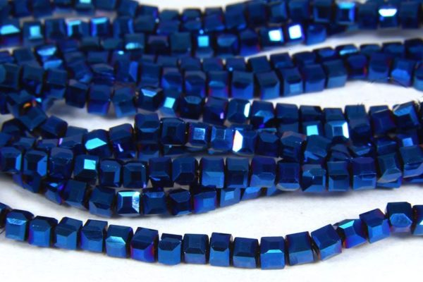 Electric Blue Crystal Cube