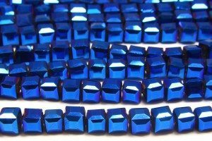 Electric Blue AB Crystal Cube