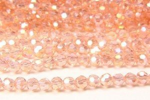 Rose Quartz AB Crystal Facetted Round
