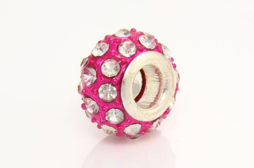 Clear with Hot Pink Marcasite Donut