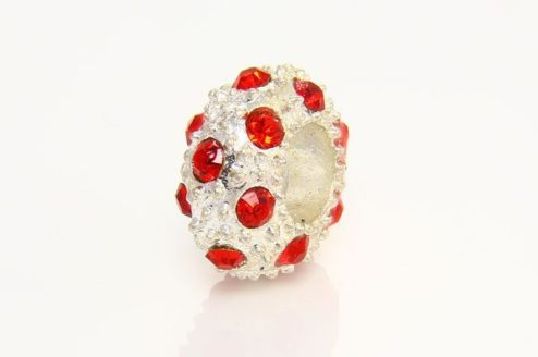 Ruby with Silver Marcasite Small Donut