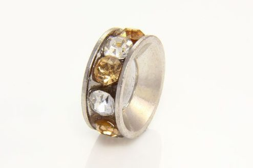 Champagne and Clear Antiqued Ring