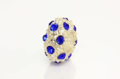 Cobalt Blue with Silver Marcasite Small Donut