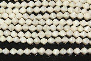Opaque Cream Lustre Bi-cones