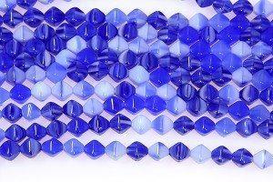 Opaque Blue Swirl Bi-cones