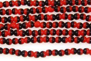 Red Black 2-tone Round Beads