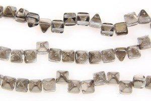 Jet Diamond Silver 2-Hole Pyramid