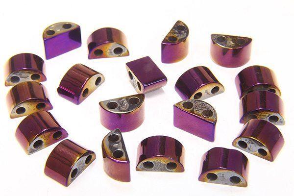 Mystic Purple Rectangle Hematite Duo