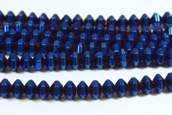 Hematite Electric Blue Bicones
