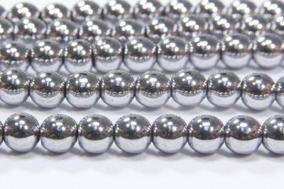 Silver Round Hematite