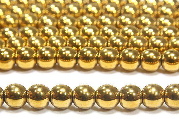 Gold Round Hematite