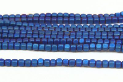 Matte Electric Blue Rounded Hematite Cubes