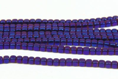 Electric Purple Rounded Hematite Cubes