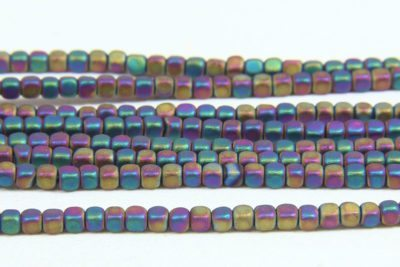 Matte Rainbow Rounded Hematite Cubes